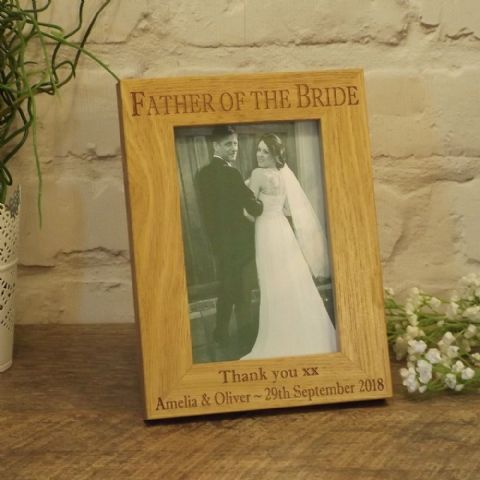 Personalised Father of the Bride Wooden Photo Frame, Wedding Gift for Dad